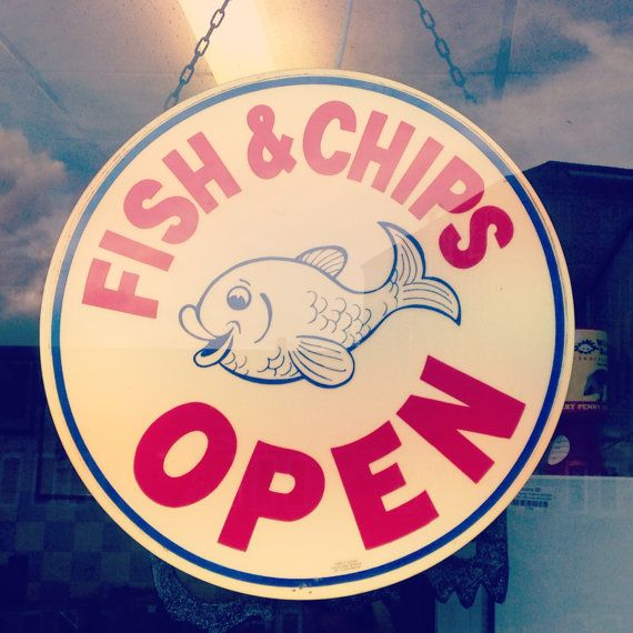 Kitchen wall art - kitchen decor - fish and chips shop sign takeaway photography print by telegramimages