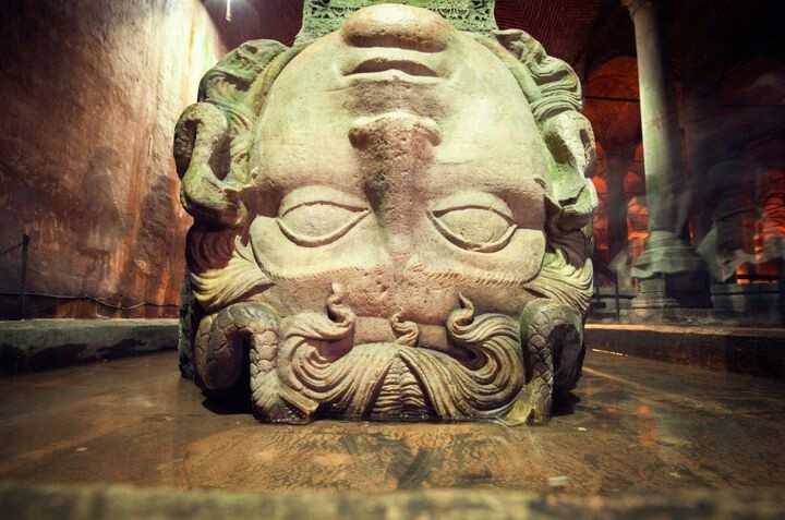 Head of Medusa at the underground city