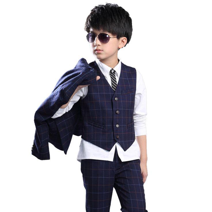 3 PCS boy's jacket children leisure suit for weddings coat+vest+pant suit for boy 9 12 age kids clothing set fall plaid clothes #Affiliate