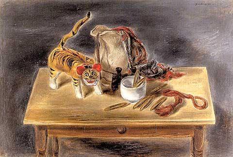Japanese Toy Tiger and Odd Objects  -1932 Yasuo Kuniyoshi
