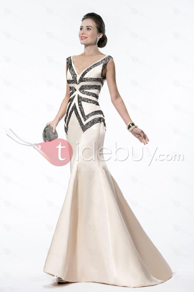 Elegant Mermaid/Trumpet V-Neck Sequins&Beading Sweep Train Evening Dress : Tidebuy.com