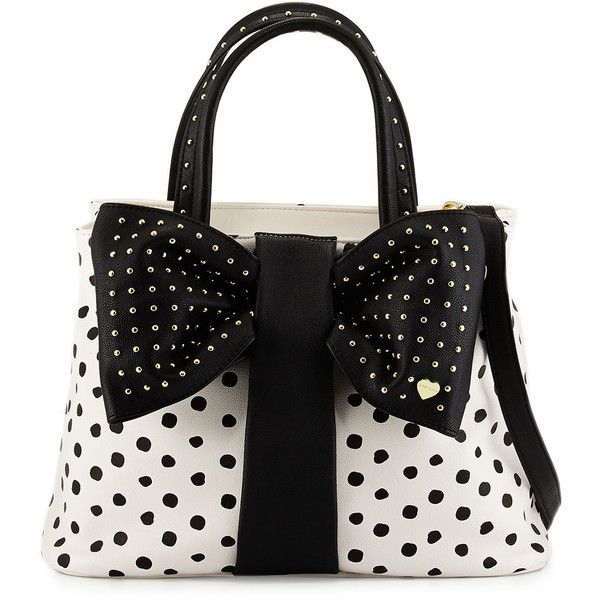 Betsey Johnson Bow-Tie Polka-Dot Shopper Tote Bag ($57) ❤ liked on Polyvore featuring bags, handbags, tote bags, purses, accessories, black, dot, shopping bag, shopping tote bags and tote handbags