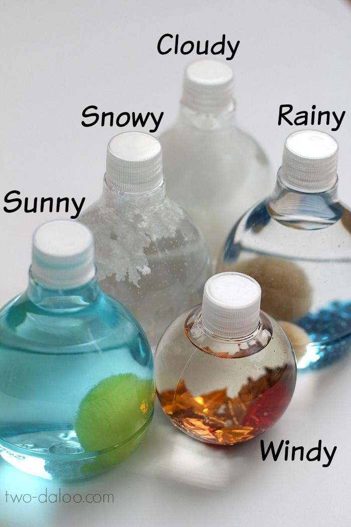 Make these simple sensory bottles as a hands-on manipulative to talk about the weather. Great for circle time!