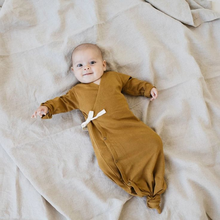 KidWild Organic Baby Kimono Gown, Curry | Baby outfits ...