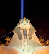 The Luxor Hotel and Casino offers guest more than 120,000 square feet of gaming with a hip, contemporary design, mirroring the dynamic energy of the casino floor venues   Blackjack, Craps, Roulette, Mini-Baccarat, Pai Gow Poker, Let It Ride,   3-Card Poker, Caribbean Stud, Megabucks, more than 2,000 slot, video poker and video keno machines, Race  Sports Book and the Bruce Buffer Poker Room!
