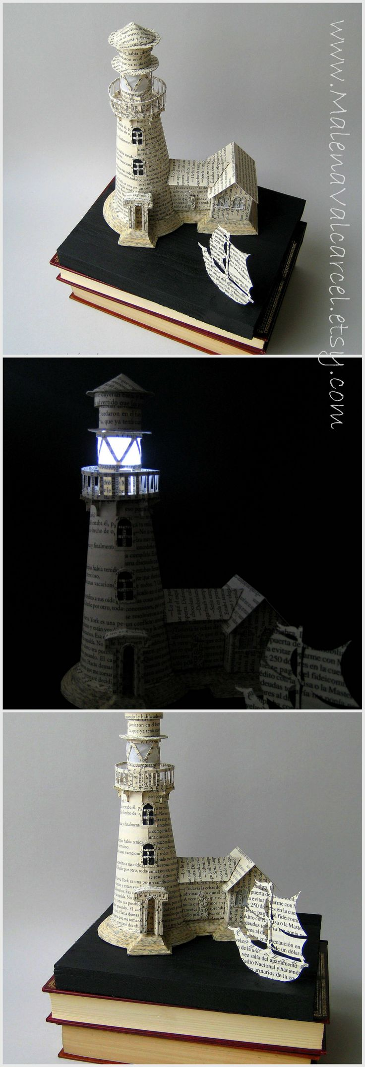 Paper Book Art by Malena Valcárcel. Light house