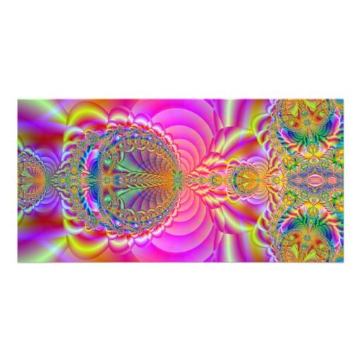 Colorful fractal picture card