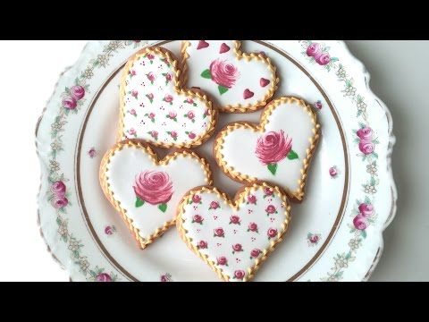 (10) How To Decorate Rose Cookies For Valentine's Day! - YouTube