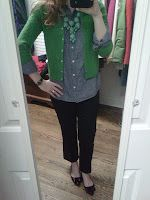 Tweed and Toile: cute teacher outfit.  Green cardigan, denim shirt, black pants, black flats.