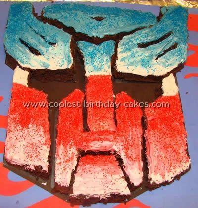 optimus prime birthday cake, transformers birthday cake