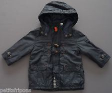 Manteau parka imperméable bleu foncé doublé jersey rayé Obaïbi 12 mois garçons