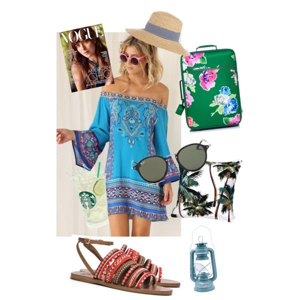 Untitled #2 by masny-prinsess on Polyvore featuring polyvore, fashion, style, Tory Burch, Kate Spade, Ray-Ban, Hat Attack and Sunnylife