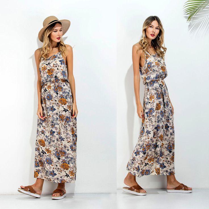 Ladies Women Summer High Elastic Waist Sleeveless Casual Long Floral Dresses Ht