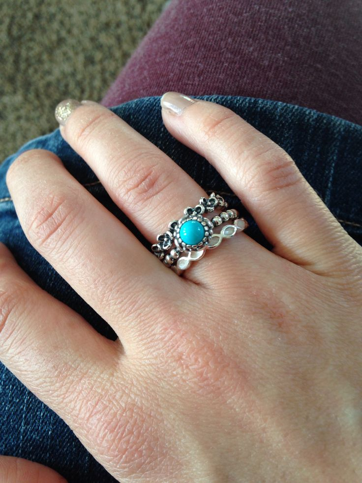 Pandora stackable rings/turquoise ring
