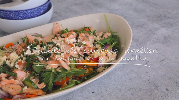 Salade de couscous israélien au saumon et à la menthe