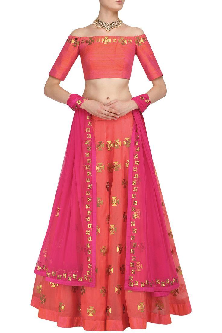 PRIYAL PRAKASH Orange and Gold Applique Work Lehenga Set. #priyalprakash #perniaspopupshop #happyshopping #shopnow #gold #lehenga #traditional #indiandesigner #ethnic #festive