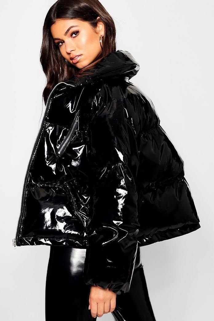 Veste doudoune courte en vinyle | Boohoo in 2019 | FASHION