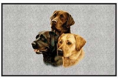 """Three of a Kind Labrador - Sporting Dogs - Gray - Door and Welcome Mat by Express Yourself Mats. $24.88. Door Mat Size 27""""x18"""". Made in USA. Personalization Available (choose above) - EMAIL TEXT TO SELLER AFTER CHECKOUT. Non-Skid Backing. Great Gift Idea!. Enjoy the Three of a Kind Labrador design heat pressed on this light-weight, low pile, woven polyester door mat. This decorative welcome mat measures 27 x 18 inches, is 1/8 inch thick and features a non-skid latex co..."""