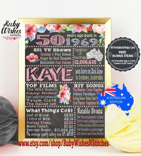 Personalised 50th Birthday 1969 Chalkboard Printable Etsy Birthday Card Printable 50th Birthday Birthday Chalkboard