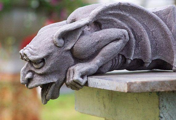 Worrywart Gargoyle,  gothic waterspout, medieval sculpture,cast stone art, garden statue, Richard Chalifour, carved element, architectural