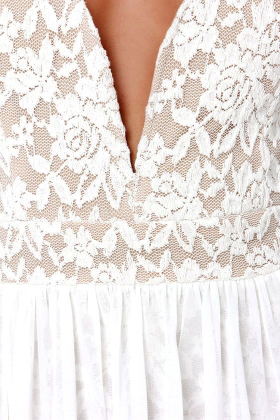 Lovely Off White Maxi Dress - Lace Maxi Dress - $77.00