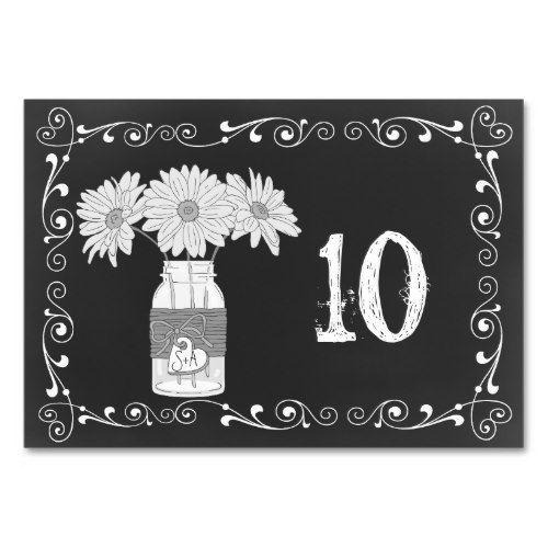 Chalkboard Mason Jar Wedding Table Card
