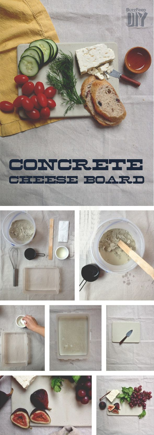 2. Concrete Cheese Board   5 Gorgeous DIY Cheese Boards To Impress Your Guests