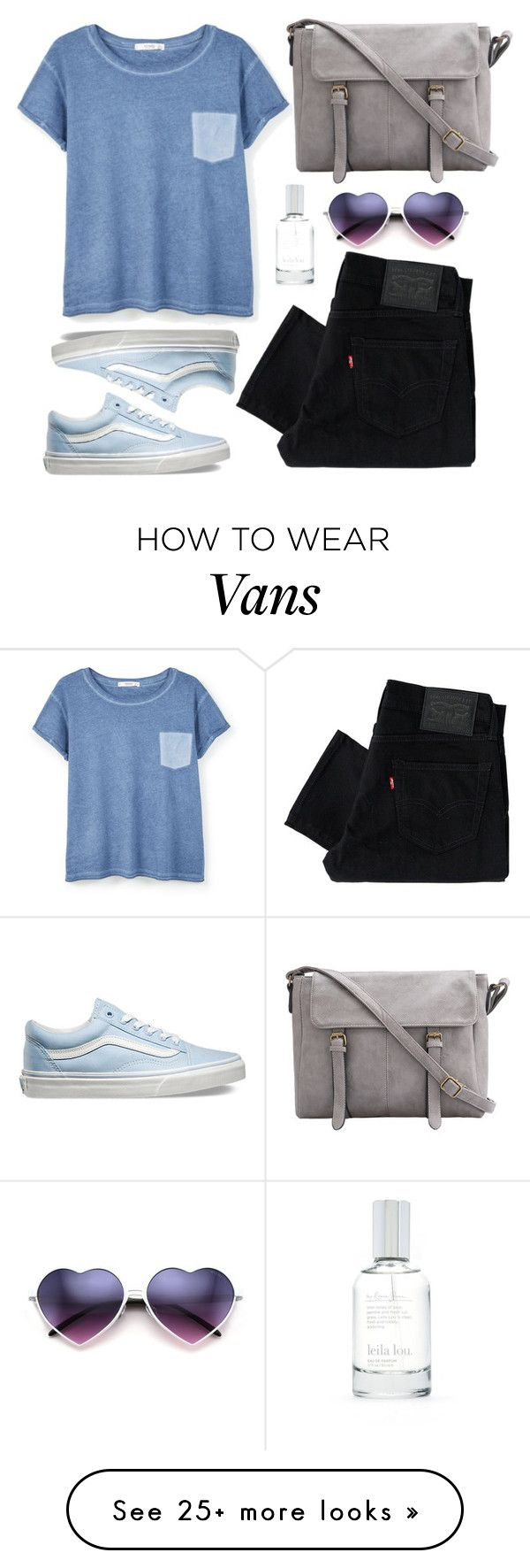 """gray-and-blue"" by microl on Polyvore featuring Levi's, MANGO, Vans and Splendid"