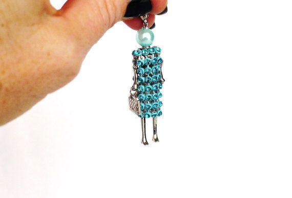 Ketten Anhänger türkis, Figur, Frau, Strass Charm mit Perle, bewegliche Glieder, silber, Kettenanhänger, Modeschmuck, Geschenk für Sie