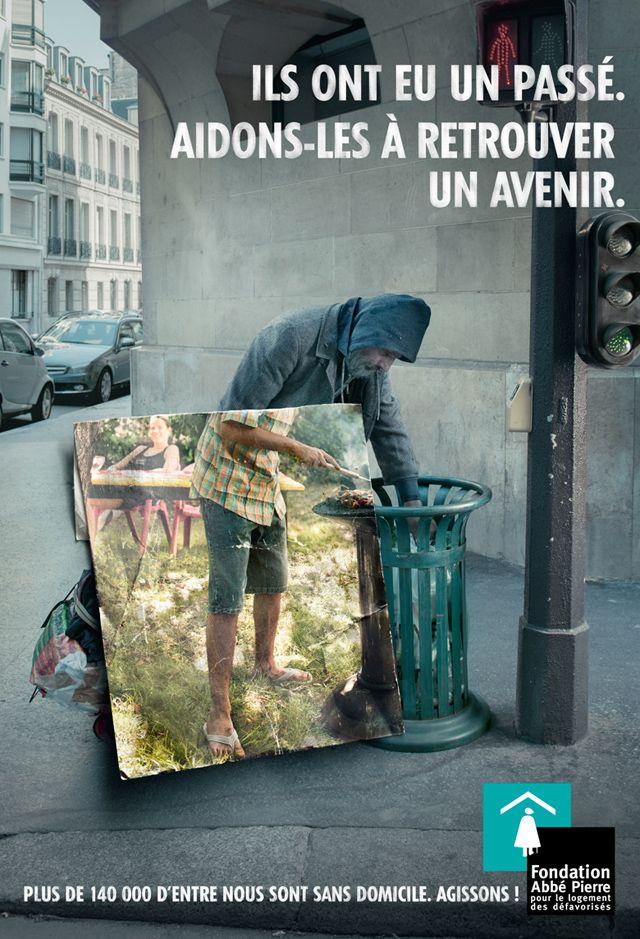 Soyons solidaires. / Show solidarity. / Pub pour La Fondation Abbé Pierre. / Ads for Abbé Pierre Foundation.