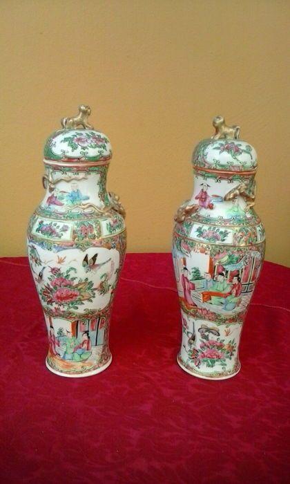 Paar Chinese geëmailleerd porselein pots - China - begin van de 20e eeuw  Geëmailleerde potten Kantonese ambachtsman die tijdens het begin van de 20e eeuw.Afmeting: 27 cm hoogte 85 cm basis.Gewicht: 1.600 kg  EUR 85.00  Meer informatie