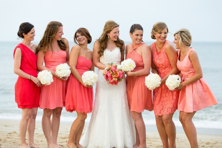 beach bridemaid mismatched bridesmaid dresses | Wedding.Coral.Beach.Mismatched. Bridesmaid.Dresses = My vision coming ...