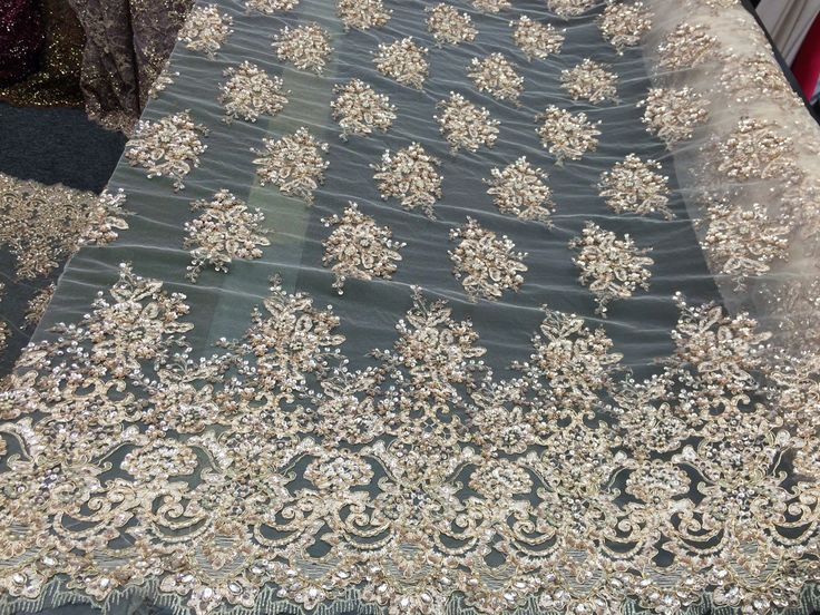 Super luxury heavy beaded bridal mesh lace fabric champagne. Sold by the yard