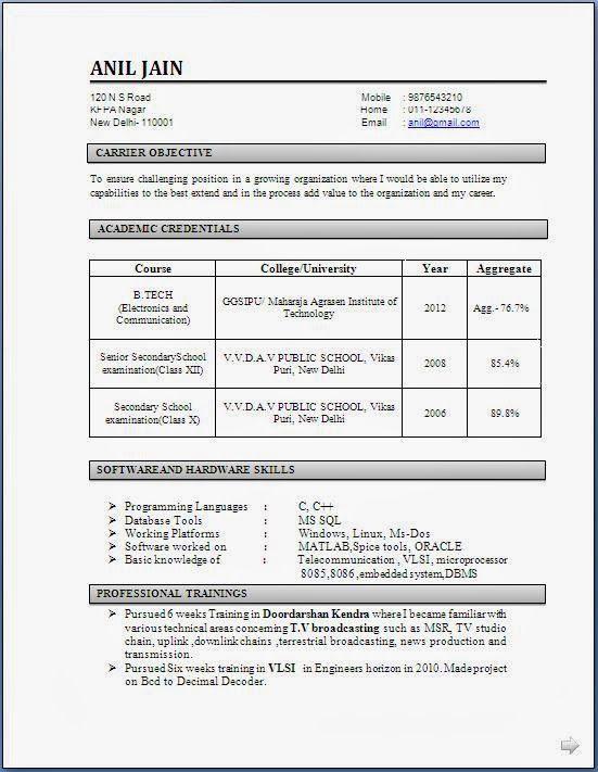 freshers sample resume civil engineer