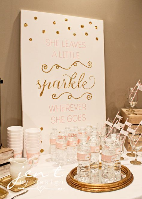 """Pink and Gold Sparkle Baby Shower - DIY """"She Leaves a Little Sparkle Wherever She Goes"""" canvas using the @silhouettepins Cameo!"""