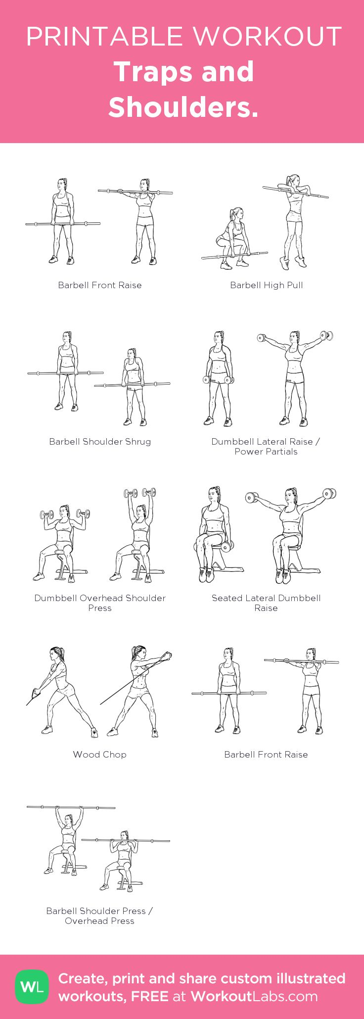 Traps and Shoulders.: my visual workout created at WorkoutLabs.com • Click through to customize and download as a FREE PDF! #customworkout