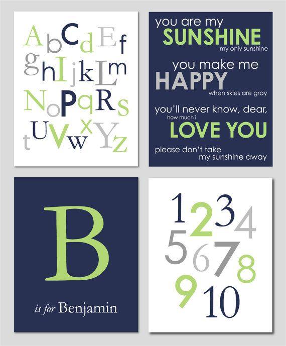 Baby Boy Nursery Gray Apple Green and Navy Alphabet by karimachal