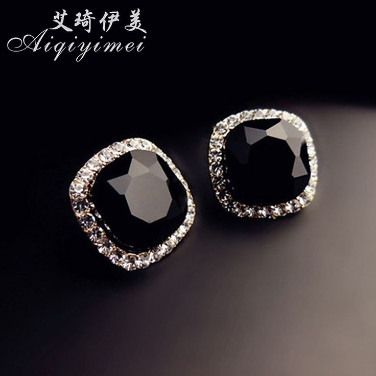 Free Shipping  New Fashion Vintage Black Stones Crystals Stud Earrings Black Jewelry earrings for women beautiful fashion gift