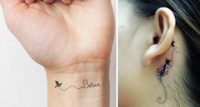 tatuagem feminina delicada no pulso ou atras da orelha