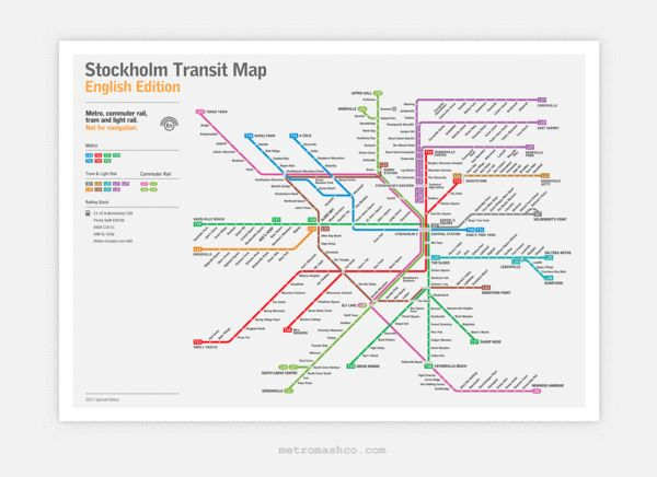 Stockholm Metro Map: Literal English Translation Poster