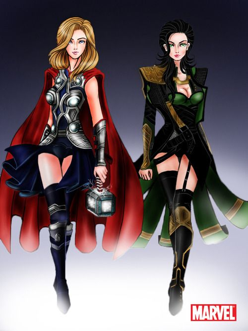 Avengers: Thor and Loki Godesses by ~aerith0808 i may have just found my inspiration for halloween ladies and gents...now to be thor or loki????