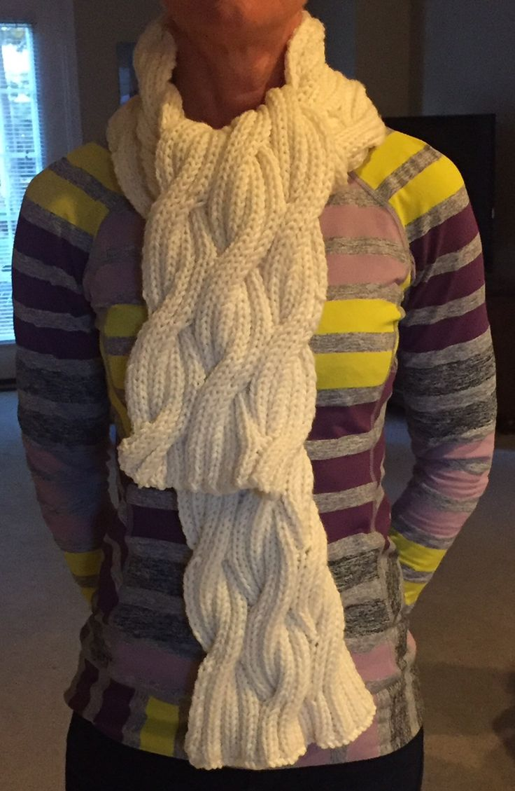 "Miranda's scarf ... pattern ""Cinder"" using Debbie Bliss Rialto Chunky. Learn more at http://blinkblackburn.com/mirandas-scarf-_-cinder-by-jared-flood/"