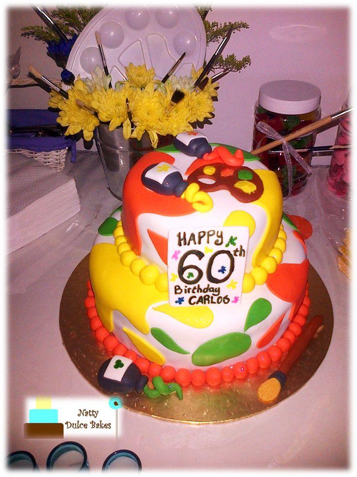 Art / Artist themed two tier cake