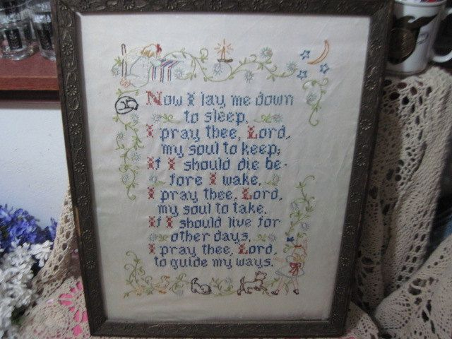Vint 1960 S Cross Stitch And Hand Embroidered Prayer