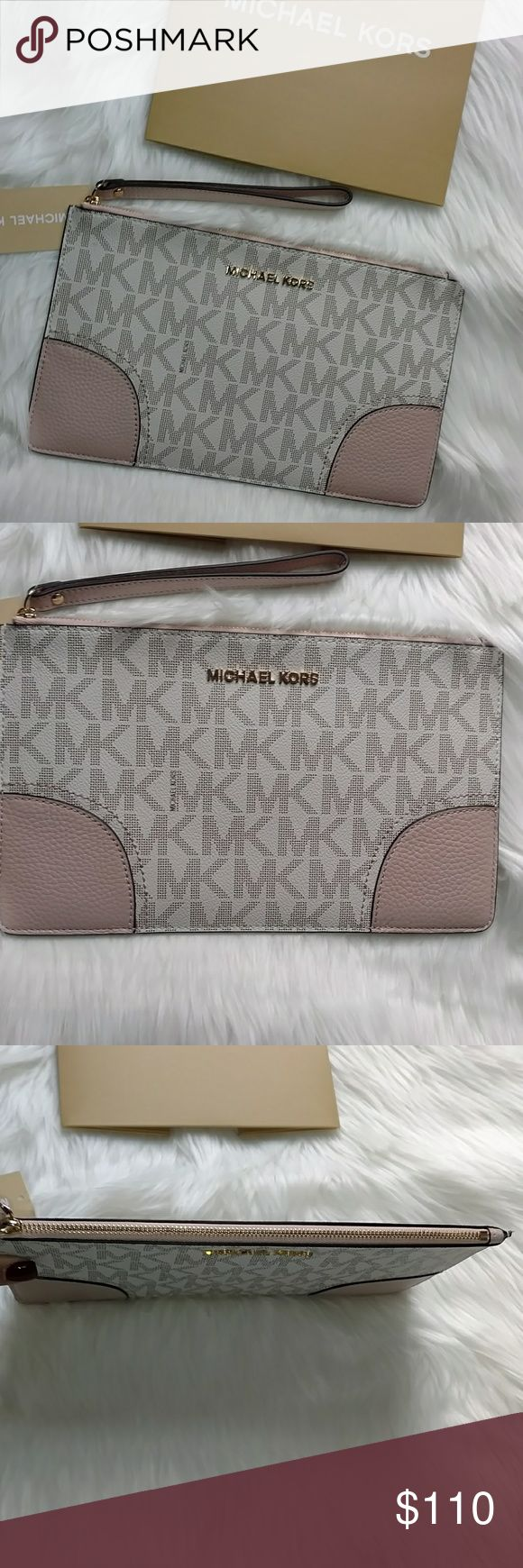 (MICHAEL KORS) LG HATTIE ZIP CLUTCH THIS IS A NEW W TAGS AND MK CARD, VANNILA LG ZIP CLUTCH, ABSOLUTELY STUNNING! HAS TAN CORNERS. ABSOLUTELY NO WEAR...LG, MEASURES 10.5' WIDE X 6' DEEP SO LOTS OF ROOM FOR PHONE AND SOME. HAS GOLD HARDWARE . CAN MAKE AN AMAZING CHRISTMAS GIFT FOR SOMEONE SPECIAL❣️ Michael Kors Bags Clutches & Wristlets