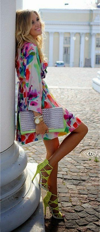 Colorful Floral Dress | Green Strappy Heels