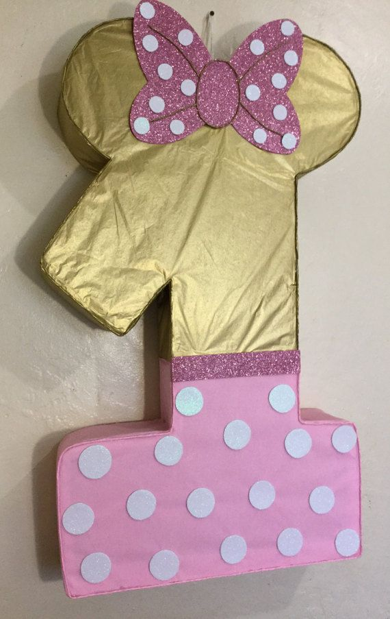 Minnie mouse pinata. Minnie mouse gold and pink. Diy by aldimyshop