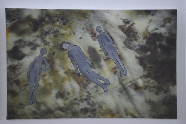 moldy bread series. shown in darb1718 cairo 2009   Shayma Aziz, Artist Cairo Egypt  acrylic paint on photo print on canvas 40x60 each  Facebook https://www.facebook.com/shayma.aziz.18