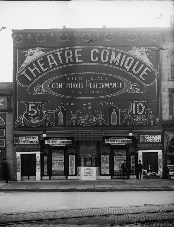 Detroit: Theatre Comique. Ca.1910. The Crystal Theatre was opened on September 18, 1905. Designed by architect C. Howard Crane, it had an elaborated sheet metal facade. Seating was provided in orchestra and balcony levels. It was closed for a while and reopened on February 2, 1908 as the Theatre Comique playing 'High Class Continuous Perfomances' of movies.
