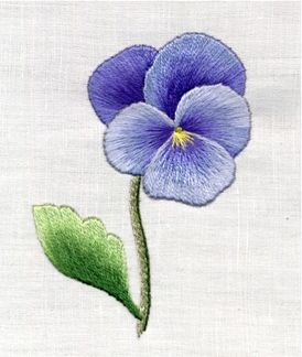 FREE PATTERNS | Trish Burr Embroidery - she has this Pansy project and a Sweet Pea project                                                                                                                                                      More